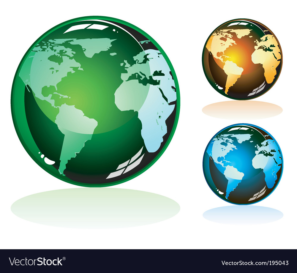 Earth glossy icons vector | Price: 3 Credit (USD $3)