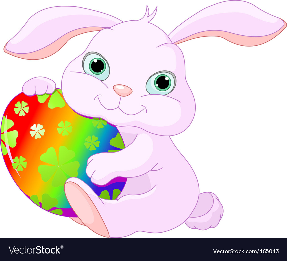 Easter rabbit holds egg vector | Price: 1 Credit (USD $1)