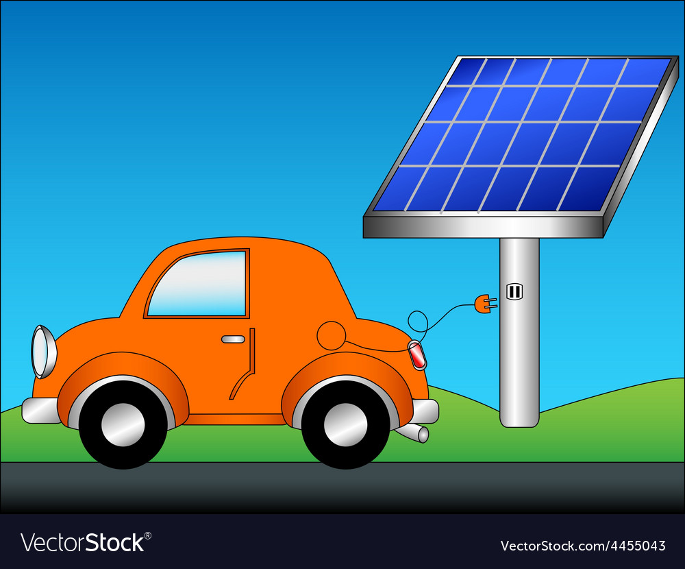 Eco car and solar panel vector | Price: 1 Credit (USD $1)