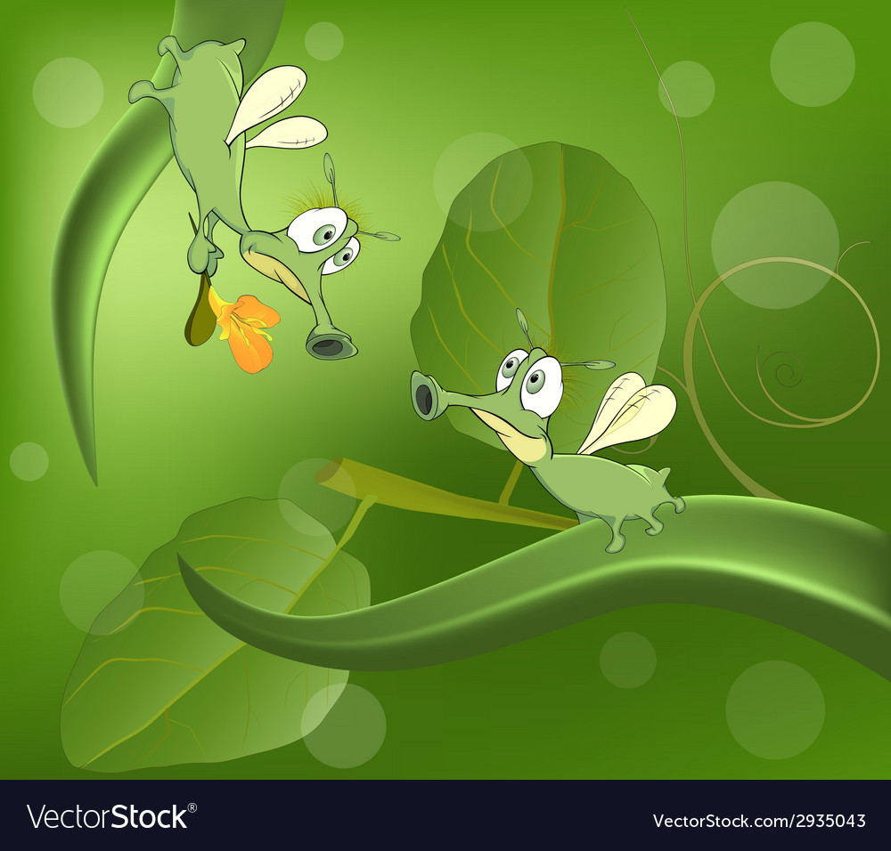 Green glowworms and love cartoon vector | Price: 1 Credit (USD $1)