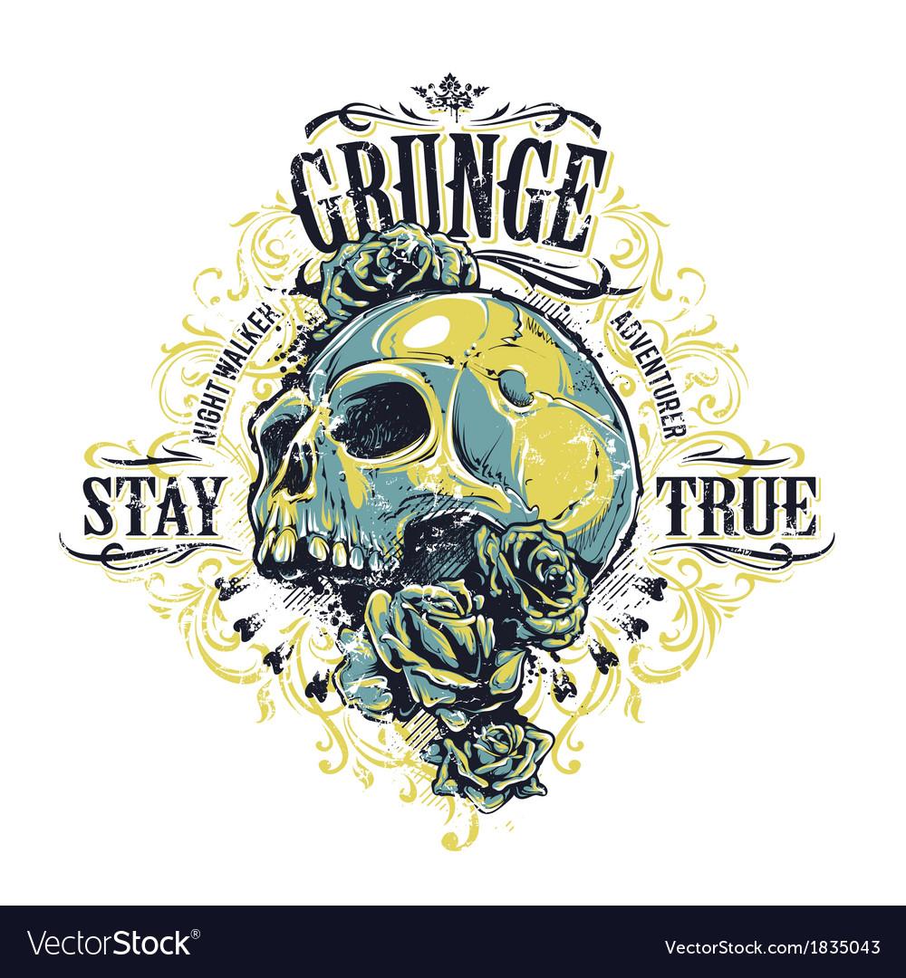 Grunge skull print vector | Price: 3 Credit (USD $3)
