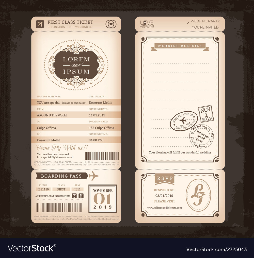 Old vintage style boarding pass wedding card vector | Price: 1 Credit (USD $1)