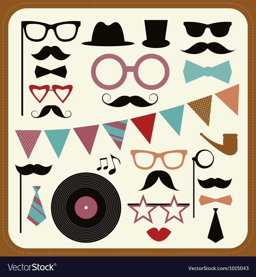 Set of retro party elements mustaches hats and vector | Price: 1 Credit (USD $1)