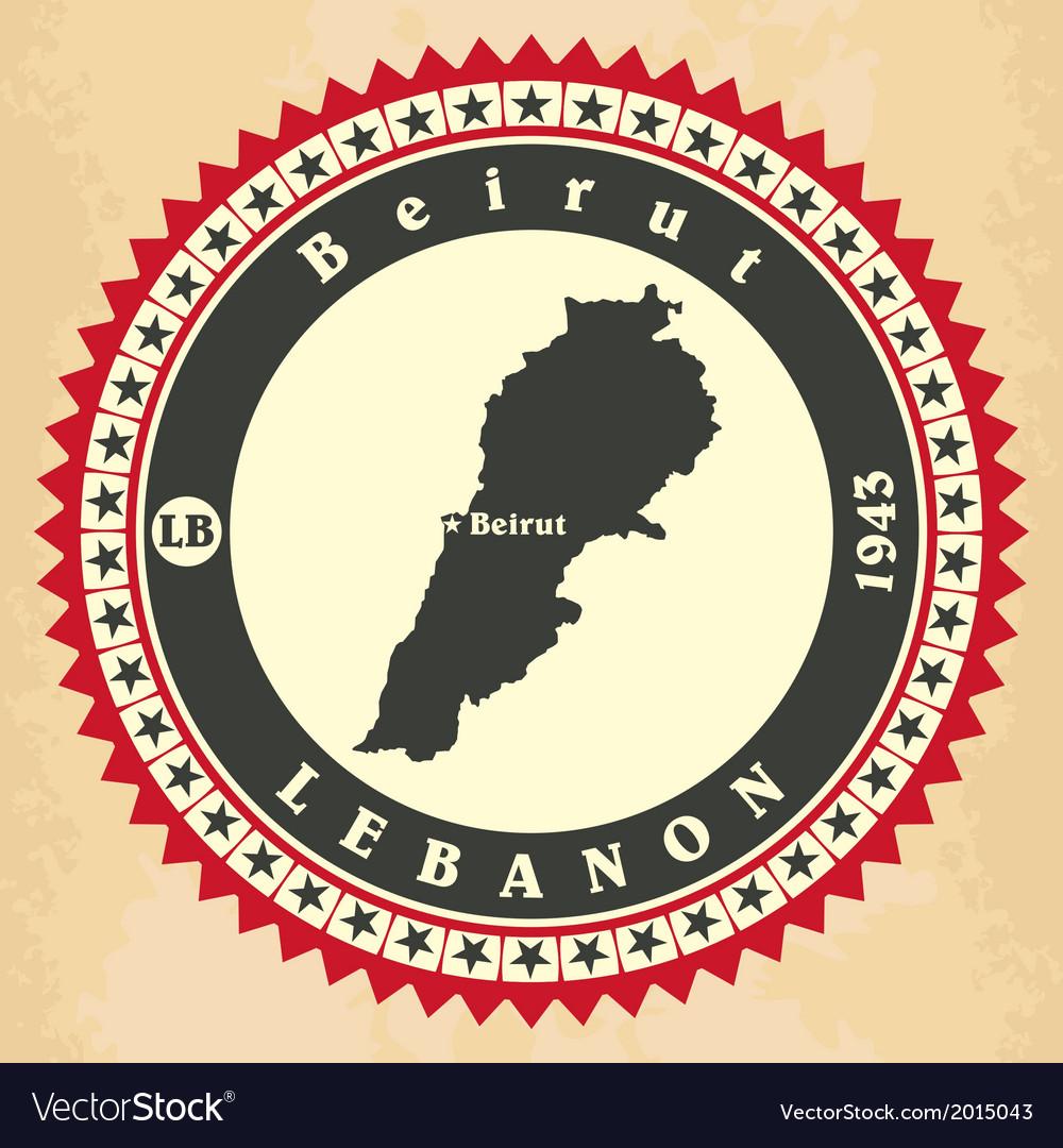 Vintage label-sticker cards of lebanon vector