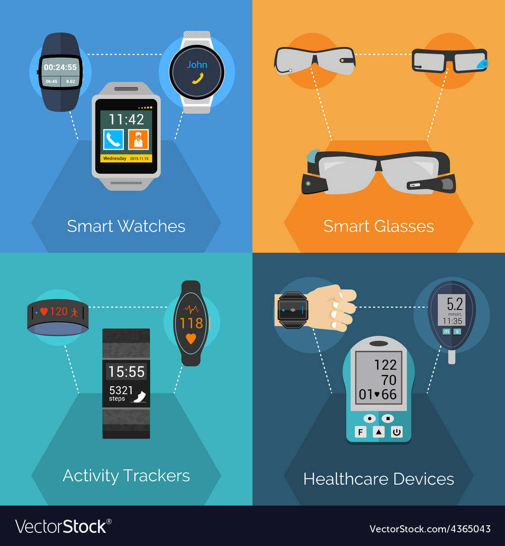 Wearable technology set vector | Price: 1 Credit (USD $1)