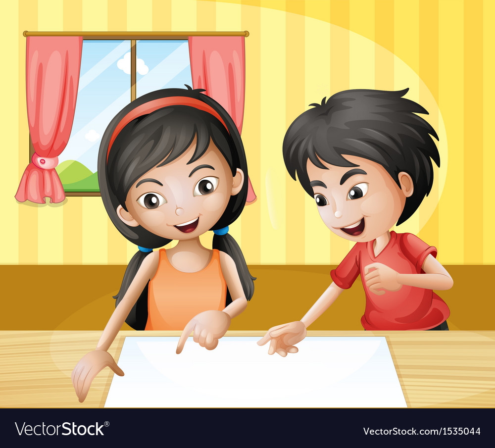 A boy and a girl discussing with an empty signage vector   Price: 1 Credit (USD $1)