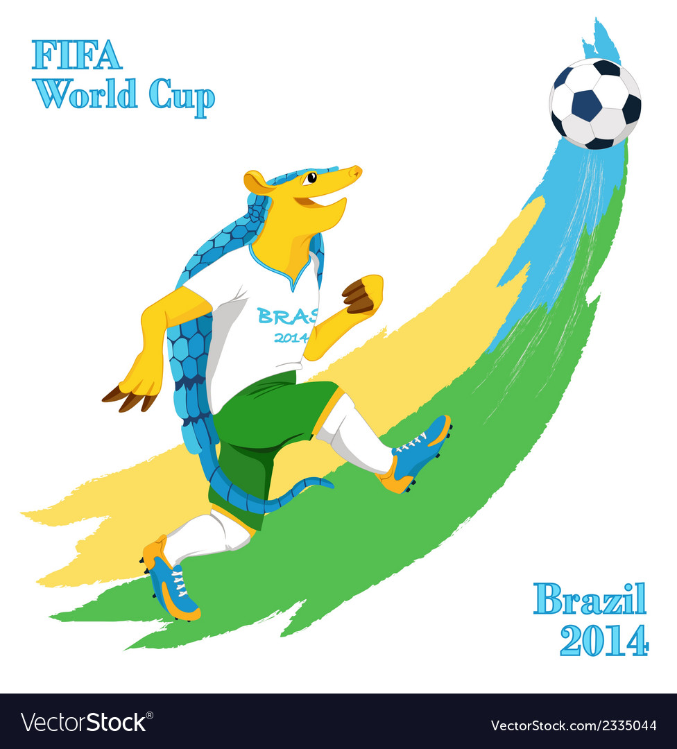 Armadillo playing football fifa world cup mascot vector | Price: 1 Credit (USD $1)