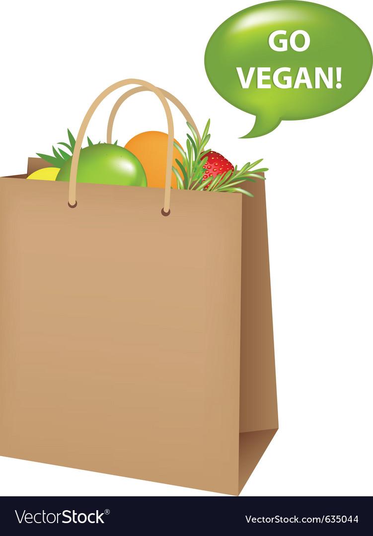 Bag with vegan food vector | Price: 1 Credit (USD $1)
