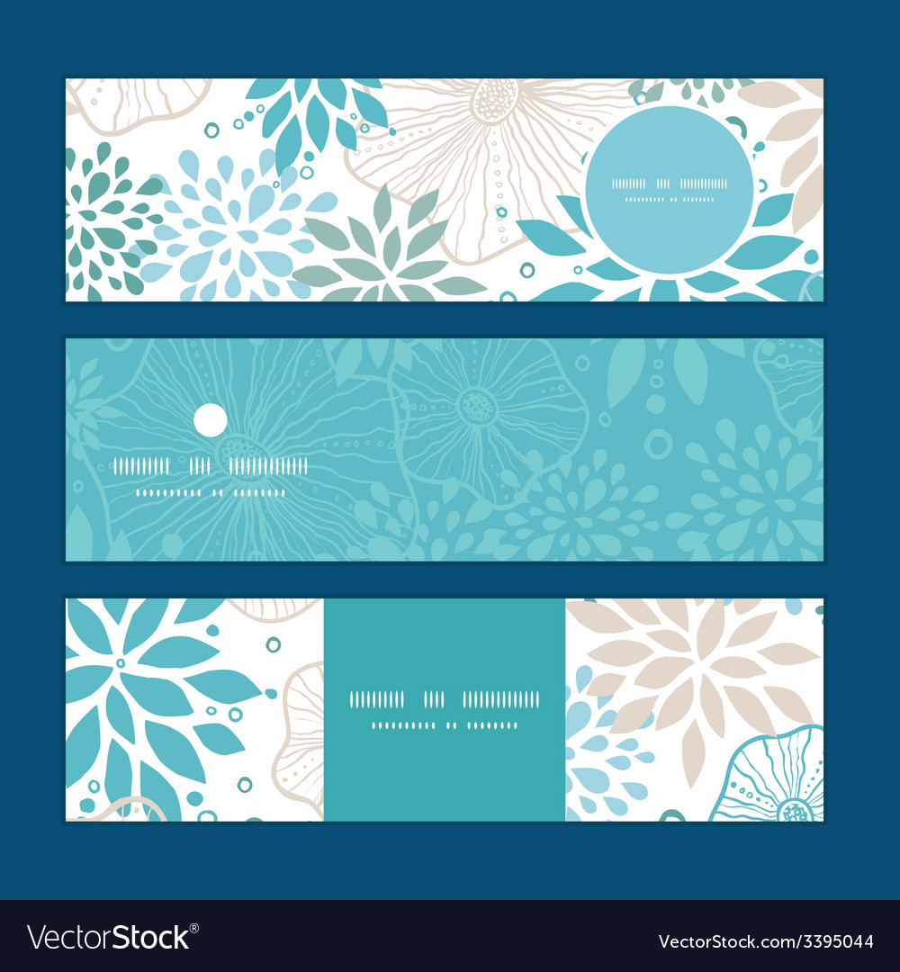 Blue and gray plants horizontal banners set vector | Price: 1 Credit (USD $1)