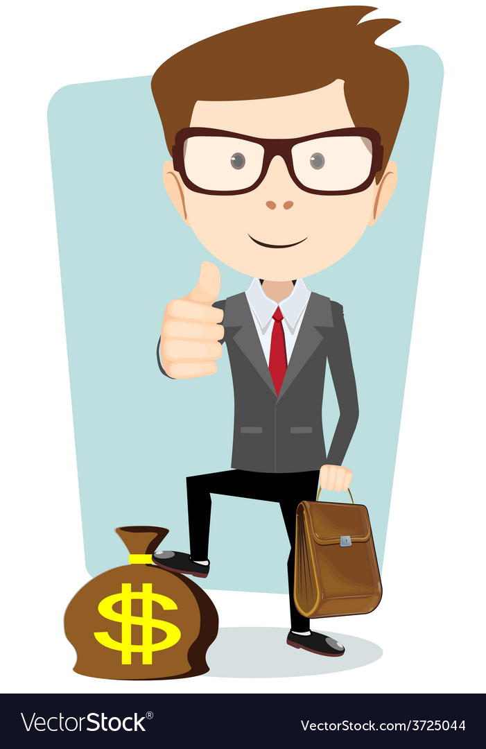 Businessman with a bag of currency vector | Price: 1 Credit (USD $1)