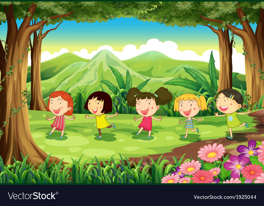 Five girls playing in the middle of the forest vector | Price: 3 Credit (USD $3)
