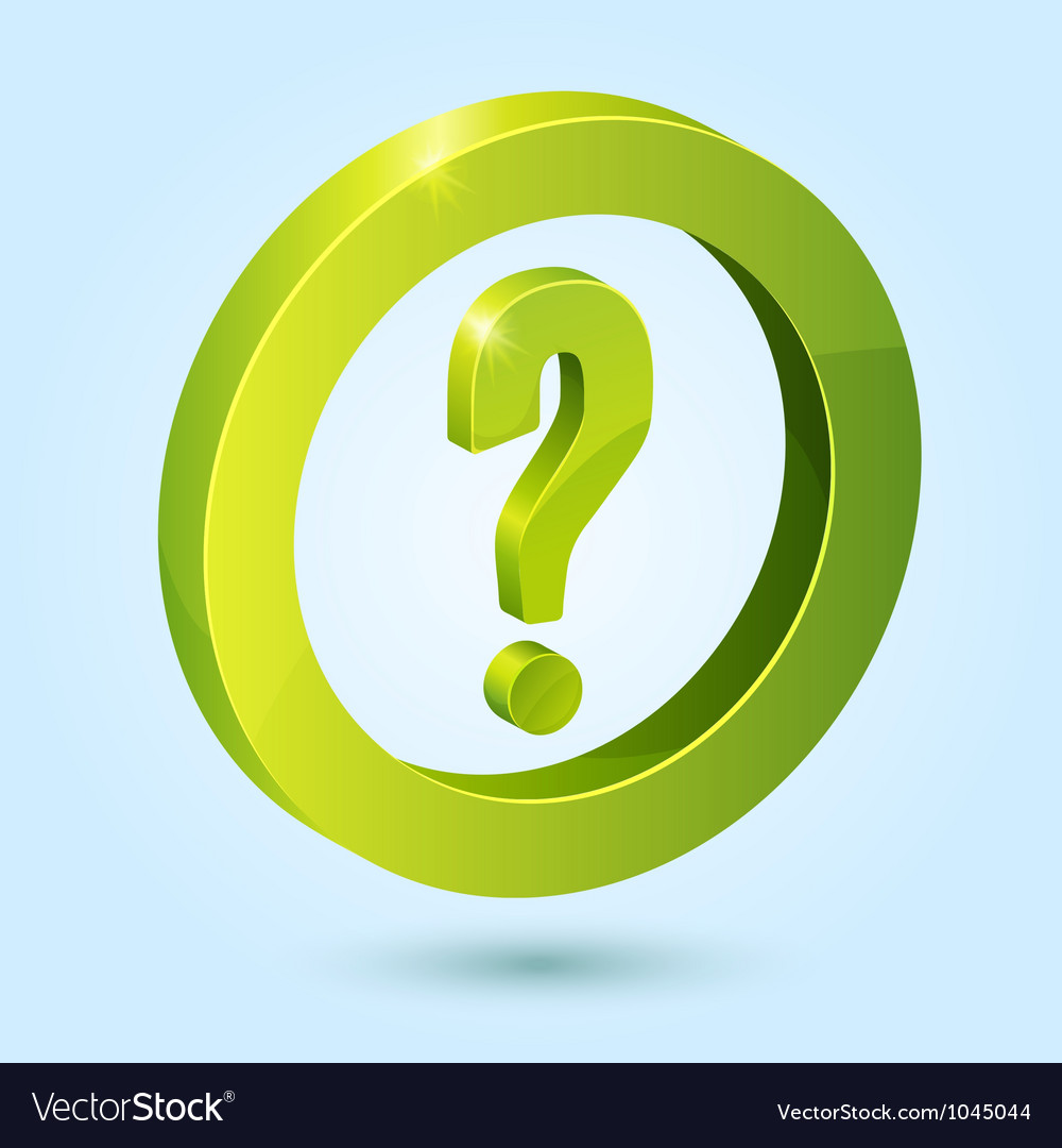 Green question symbol isolated on blue background vector | Price: 1 Credit (USD $1)