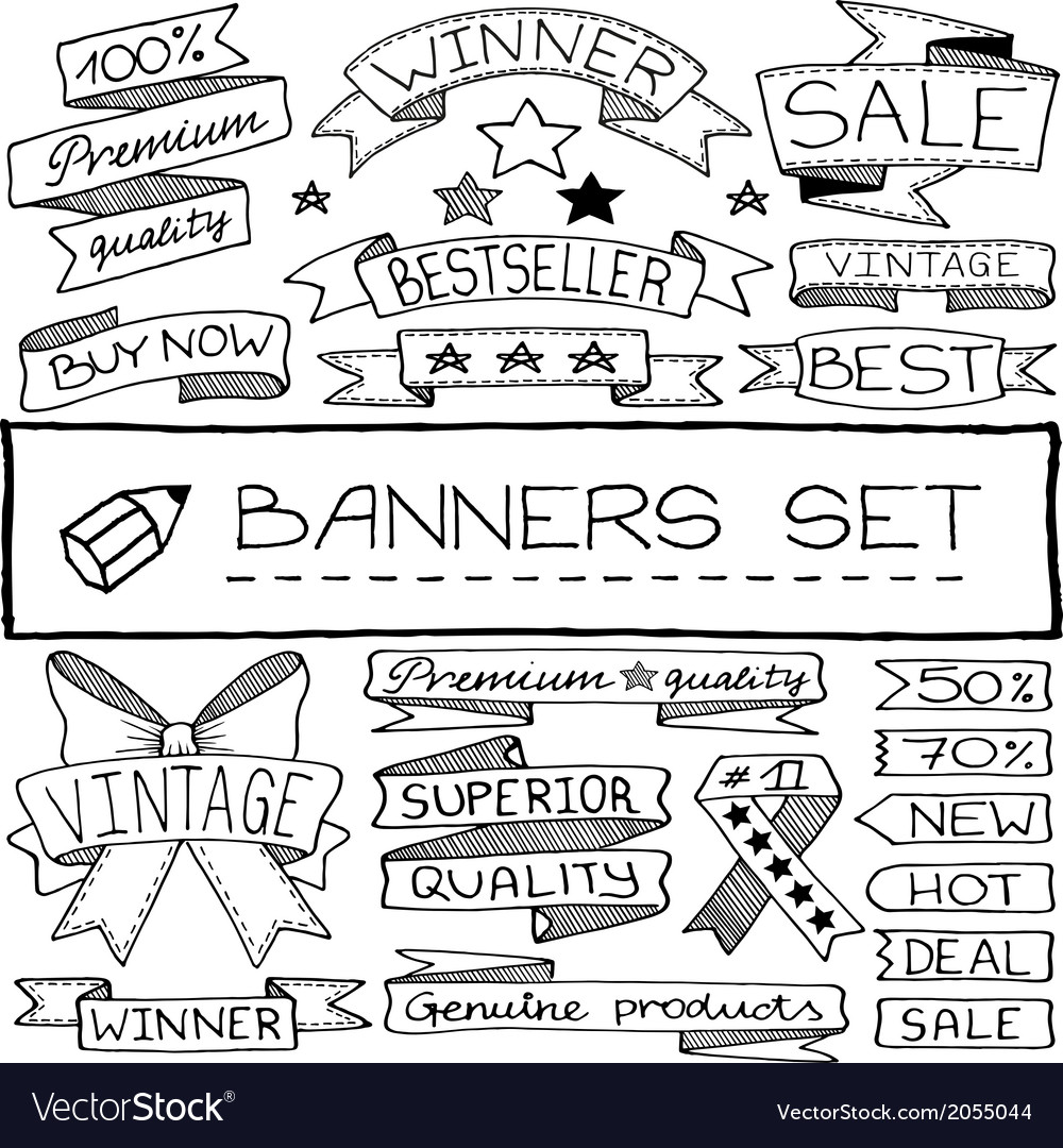 Hand drawn banners and tag icons set vector | Price: 1 Credit (USD $1)