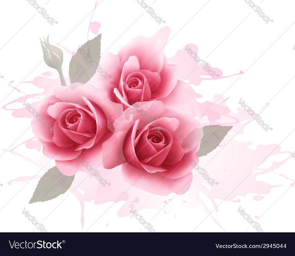 Holiday gift cardl with three pink roses vector | Price: 1 Credit (USD $1)