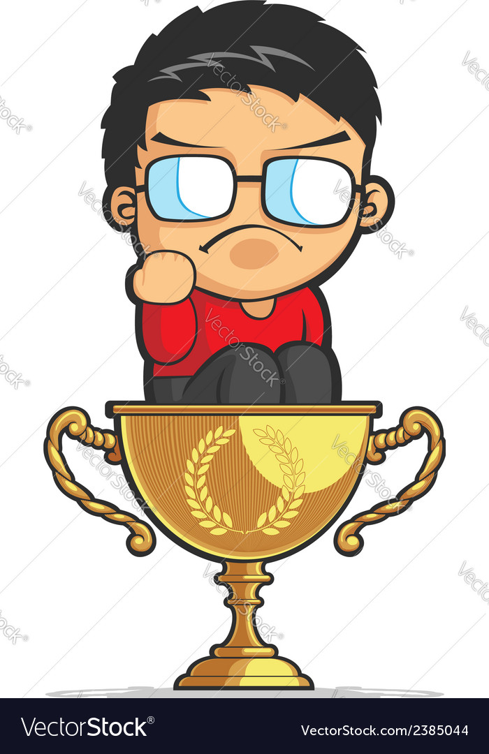 Kid making success fist on achievement trophy vector | Price: 1 Credit (USD $1)