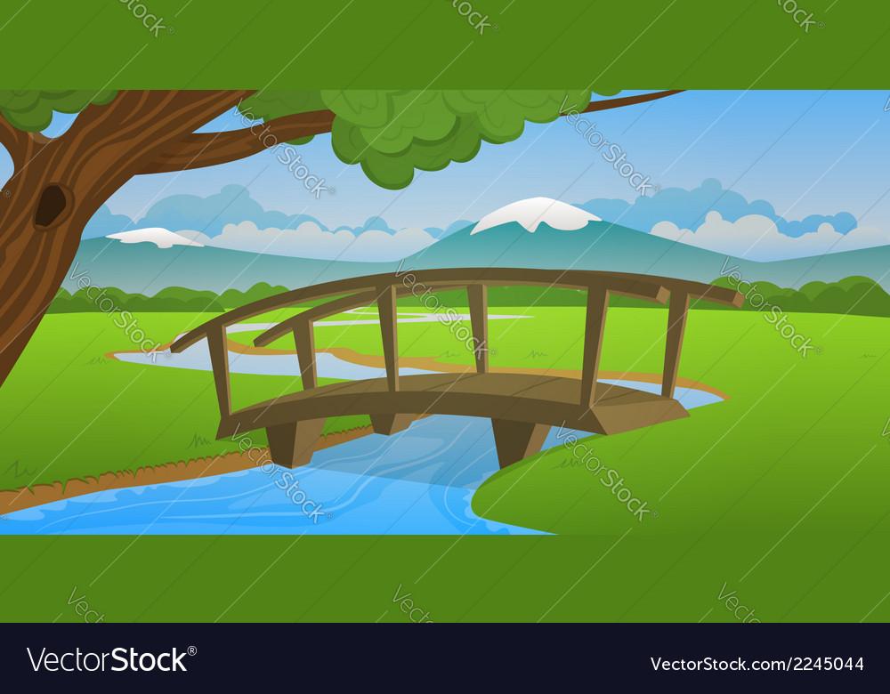 Small wooden bridge vector | Price: 1 Credit (USD $1)