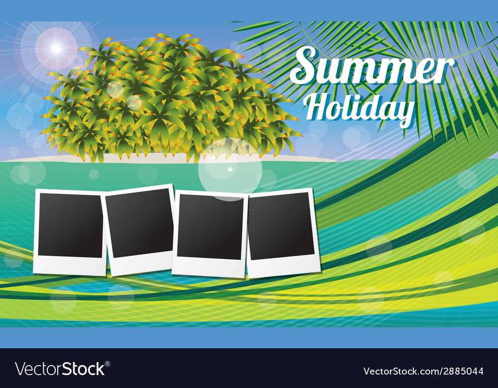 Summer holiday card with beautiful tropical island vector | Price: 1 Credit (USD $1)