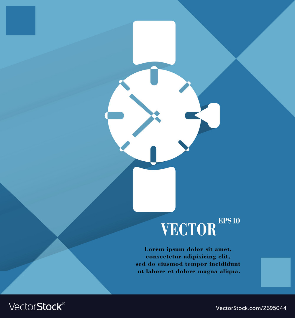 Watchclock flat modern web button on a flat vector   Price: 1 Credit (USD $1)