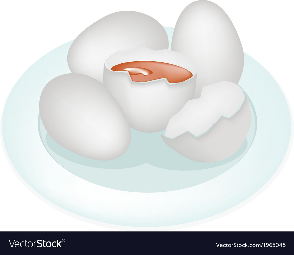 An duck eggs in white plate vector | Price: 1 Credit (USD $1)