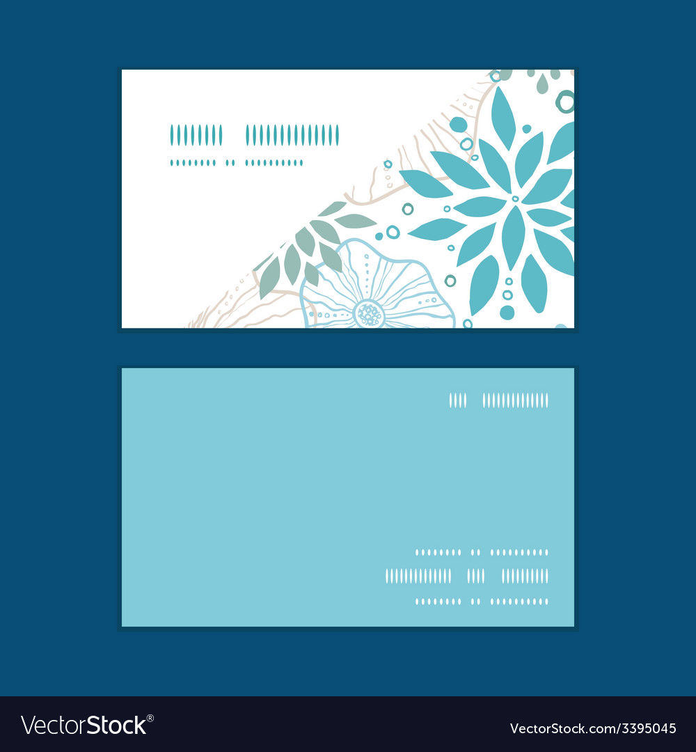 Blue and gray plants horizontal corner frame vector | Price: 1 Credit (USD $1)