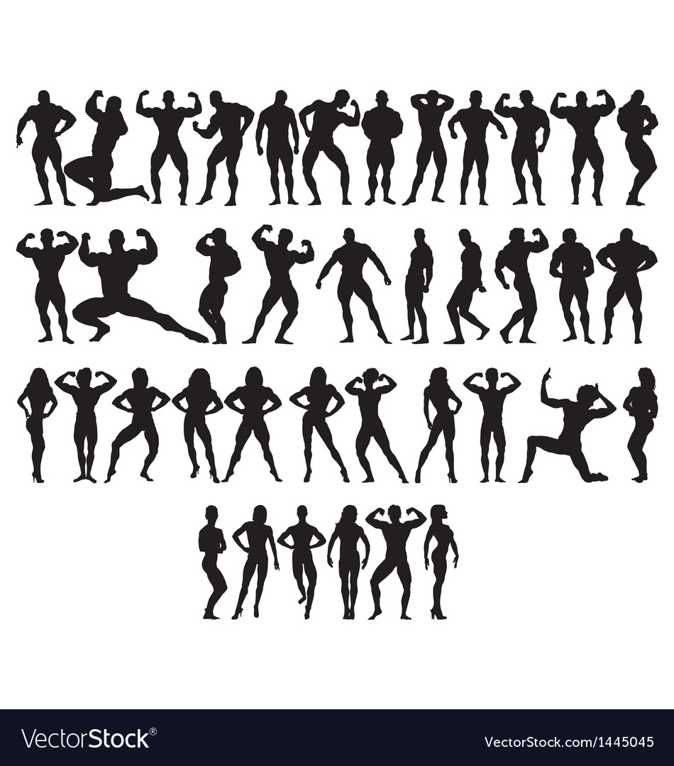 Bodybuilder silhouettes vector | Price: 1 Credit (USD $1)