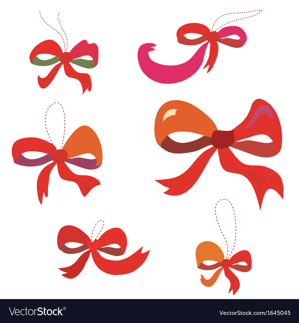 Bows set in red colors funny vector | Price: 1 Credit (USD $1)