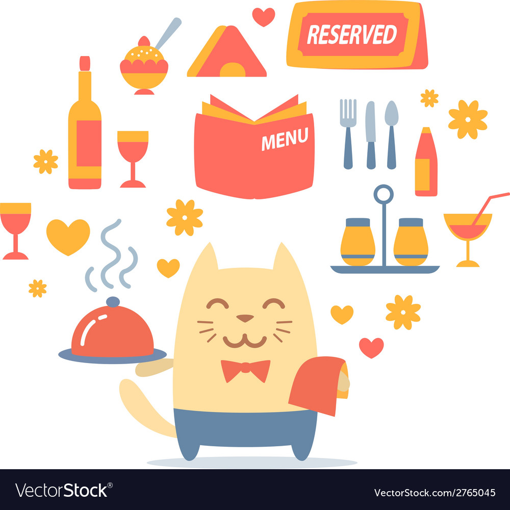 Character waiter uniform and bow tie colorful flat vector | Price: 1 Credit (USD $1)