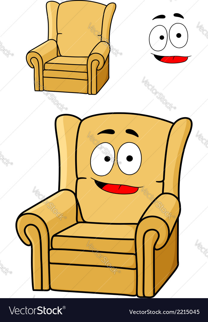 Comfortable cartoon yellow upholstered armchair vector | Price: 1 Credit (USD $1)