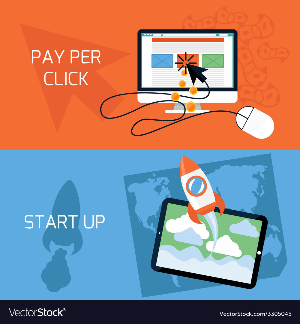 Concept of start up pay per click web advertising vector | Price: 1 Credit (USD $1)