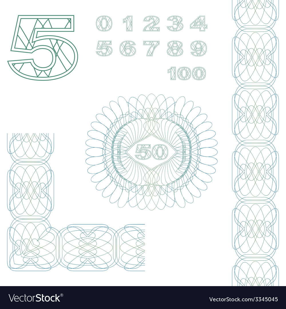 Decorative elements and numbers vector | Price: 1 Credit (USD $1)