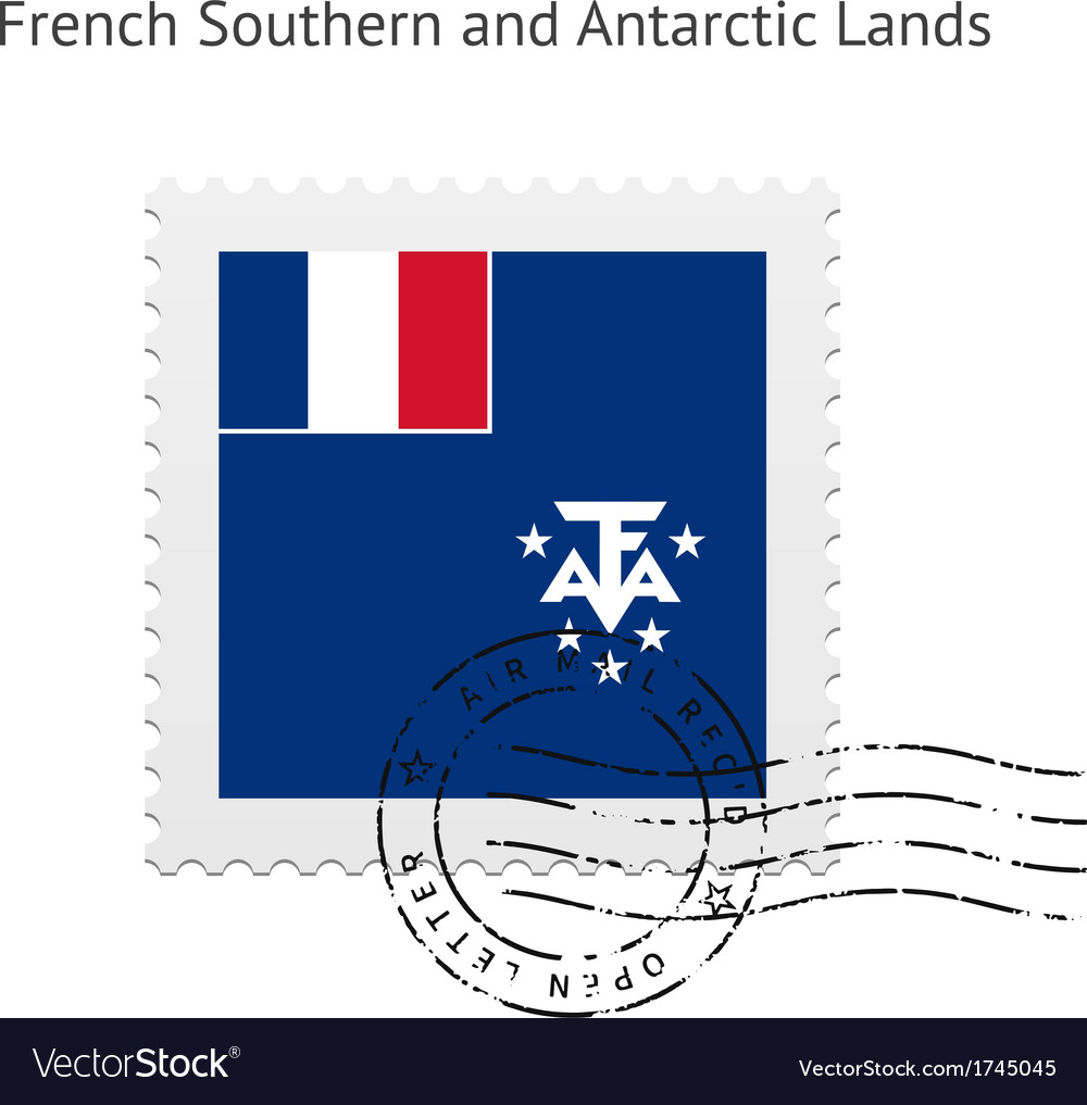 French southern and antarctic lands flag postage vector | Price: 1 Credit (USD $1)