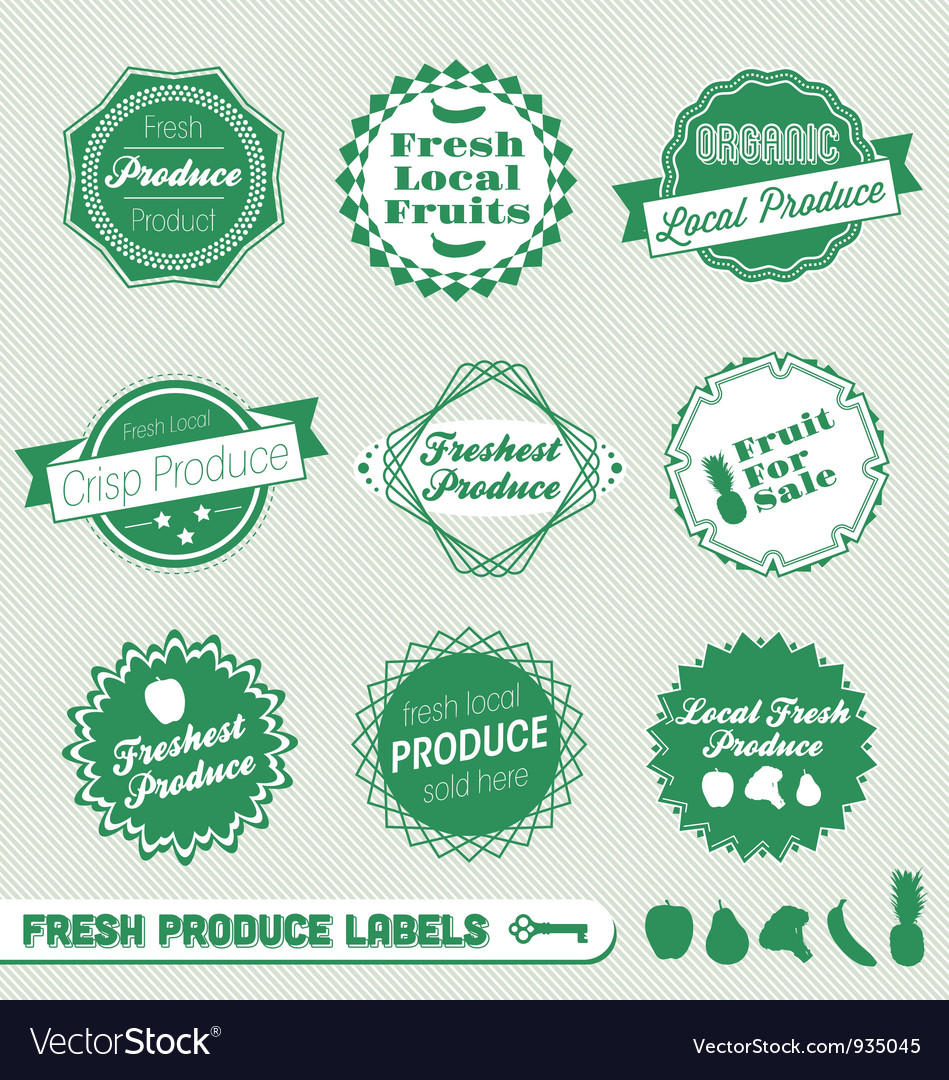 Fresh produce labels vector | Price: 1 Credit (USD $1)