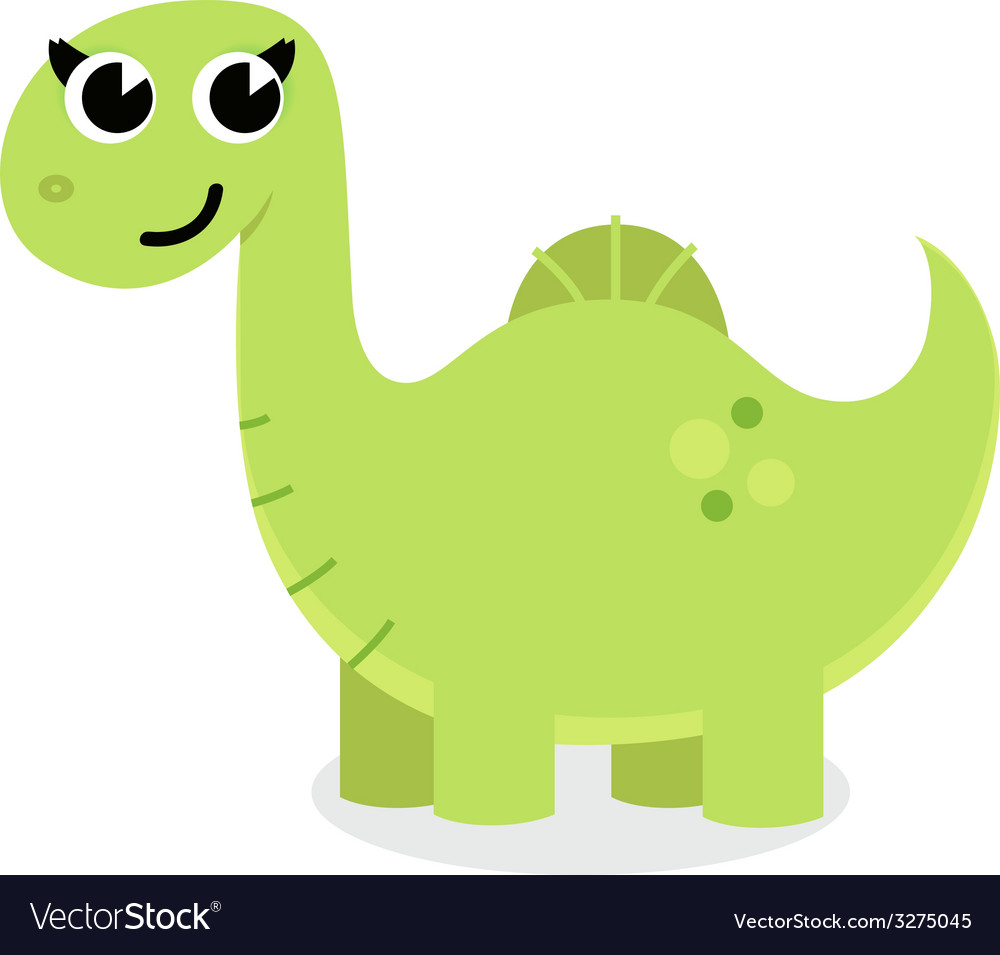 Green cute cartoon dino isolated on white vector | Price: 1 Credit (USD $1)
