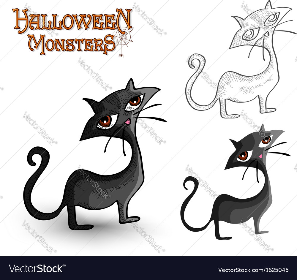 Halloween monsters spooky back cat eps10 file vector | Price: 1 Credit (USD $1)