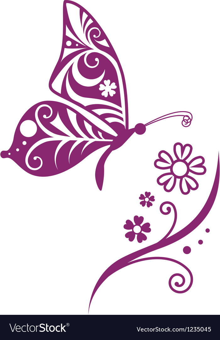 Inwrought butterfly silhouette and flower vector | Price: 1 Credit (USD $1)
