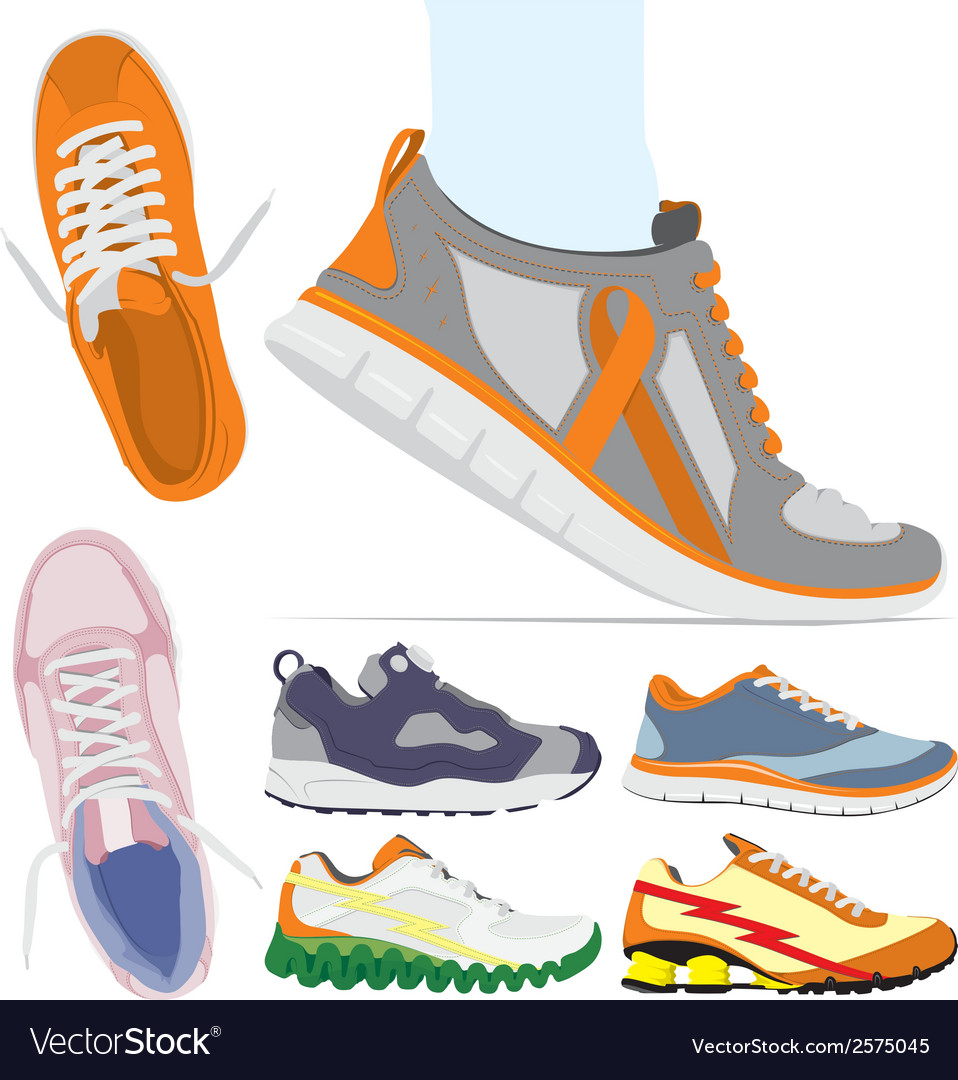 Running shoes set vector