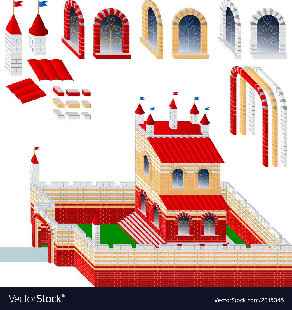 Set of bricks and palace vector | Price: 1 Credit (USD $1)
