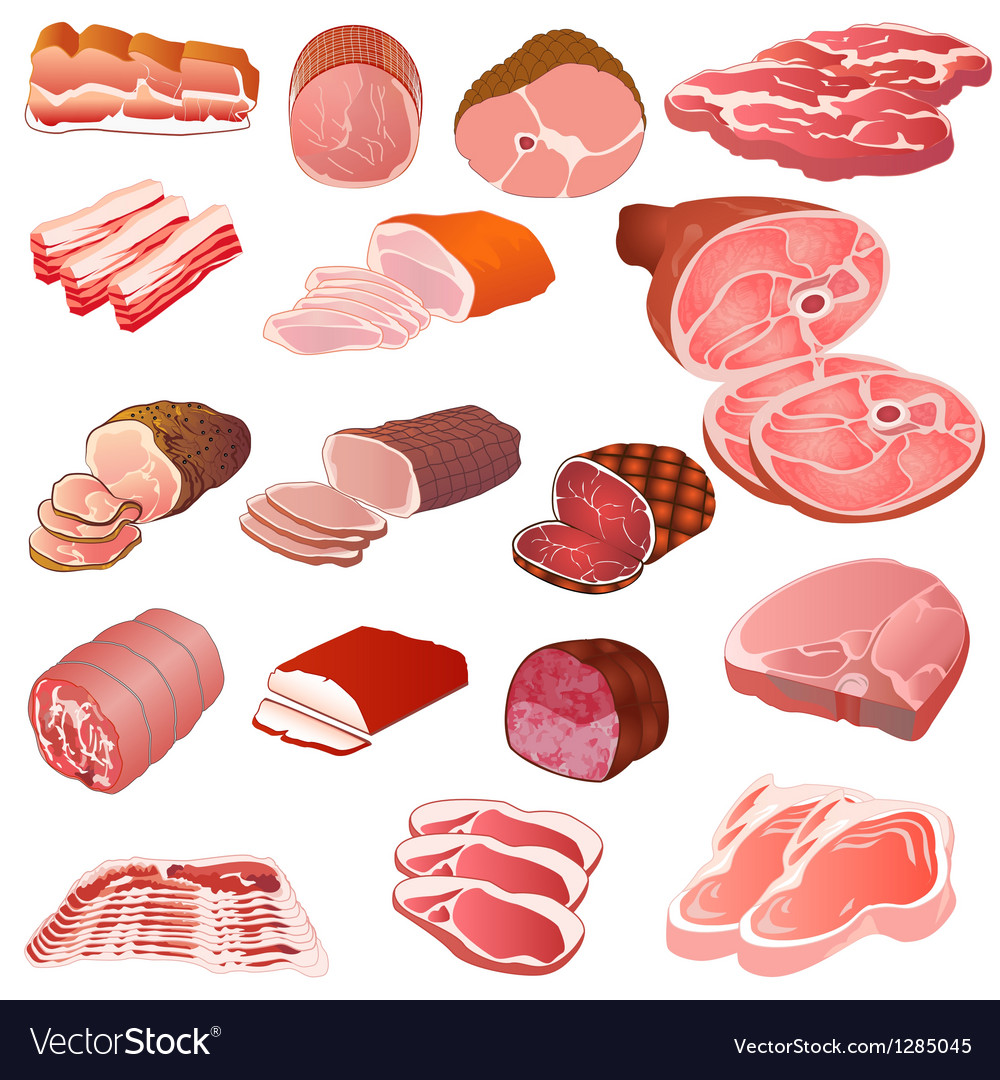 Set of different kinds of meat vector | Price: 3 Credit (USD $3)