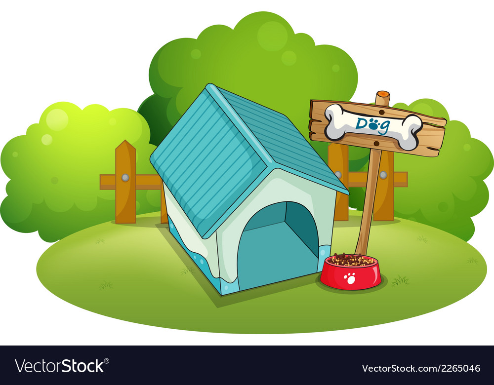 A blue doghouse at the backyard vector | Price: 1 Credit (USD $1)