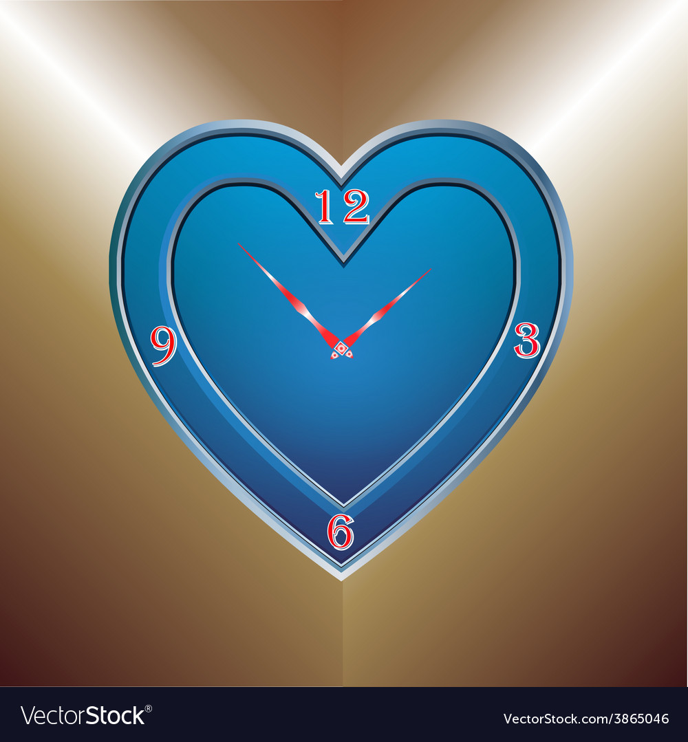 Blue heart clock vector | Price: 1 Credit (USD $1)