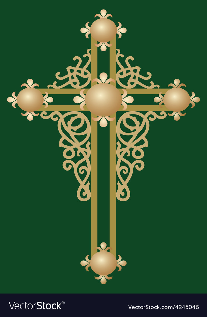 Christian holy cross with ornament vector | Price: 1 Credit (USD $1)