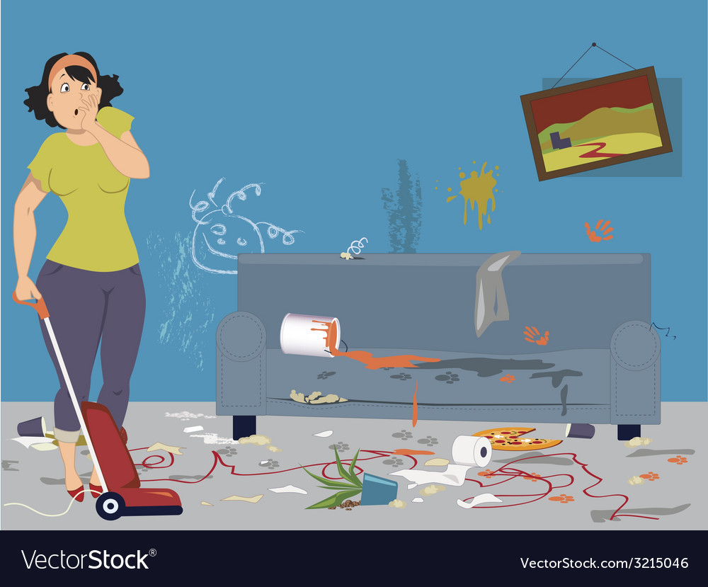 Cleaning a messy room vector | Price: 1 Credit (USD $1)