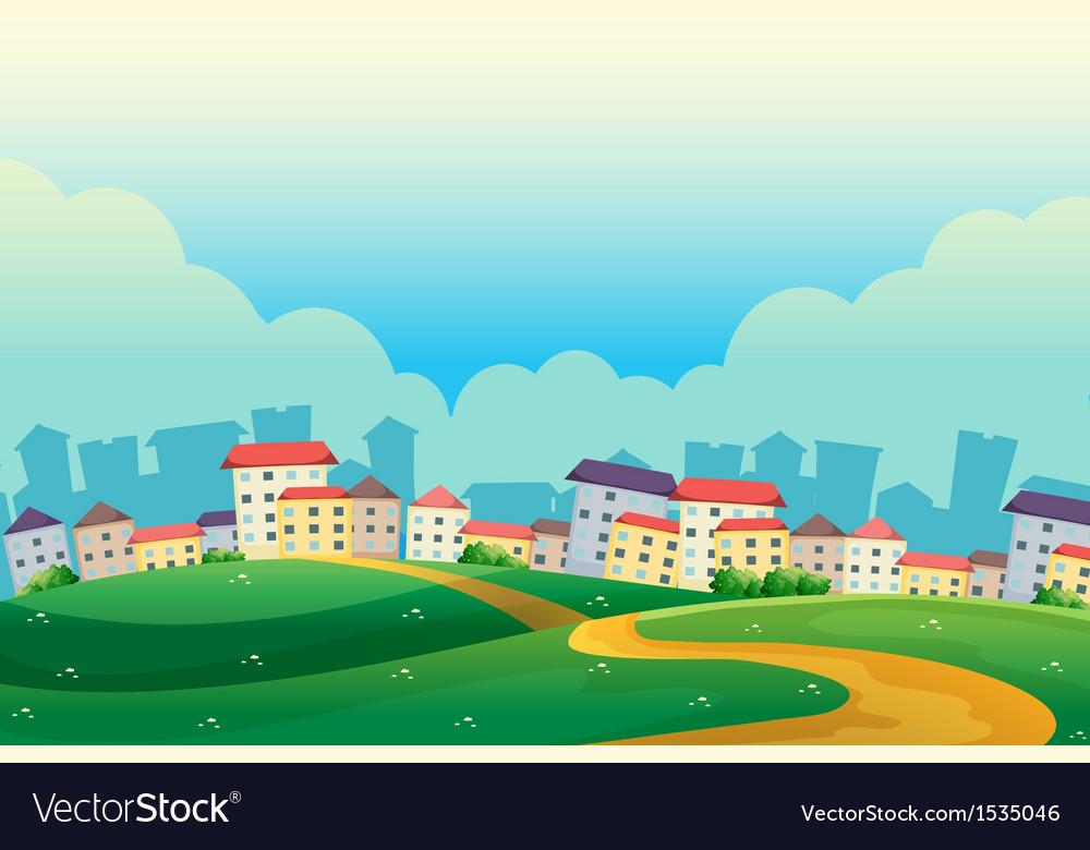 Hills near the village vector   Price: 1 Credit (USD $1)
