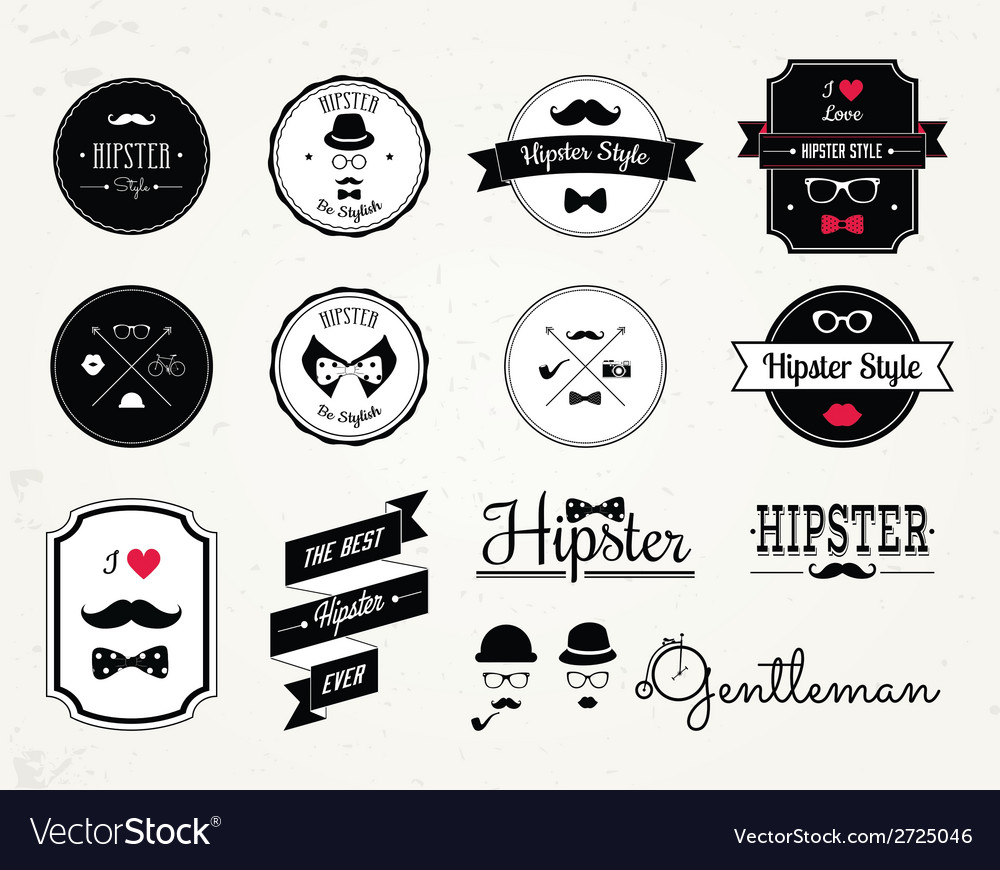 Hipster style elements icons and labels vector | Price: 1 Credit (USD $1)
