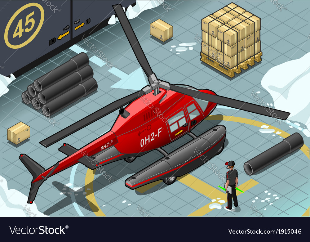 Isometric arctic emergency helicopter in rear view vector | Price: 1 Credit (USD $1)