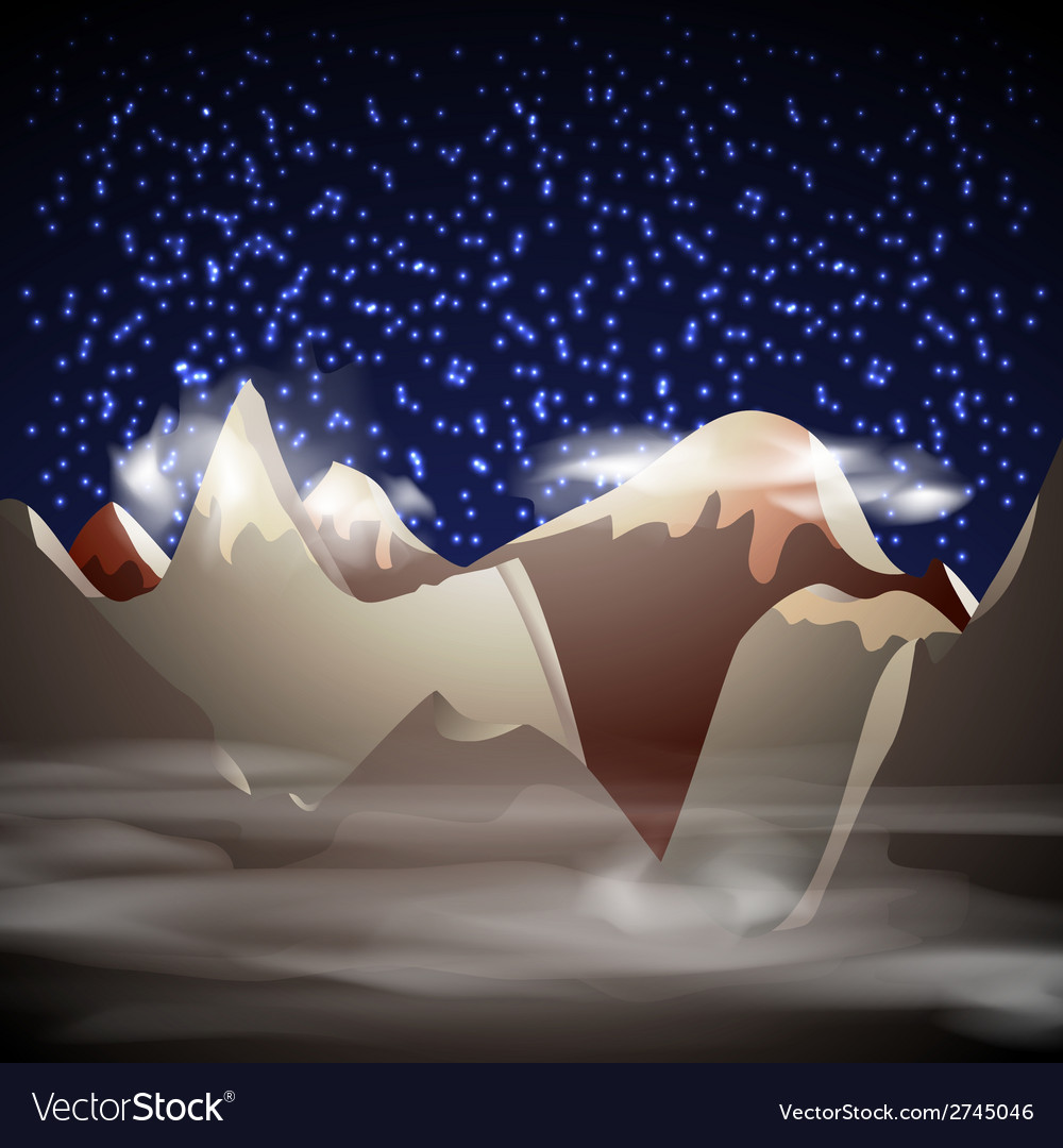 Mountain night landscape vector | Price: 1 Credit (USD $1)