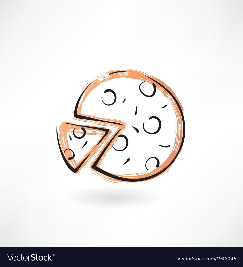 Pizza grunge icon vector   Price: 1 Credit (USD $1)