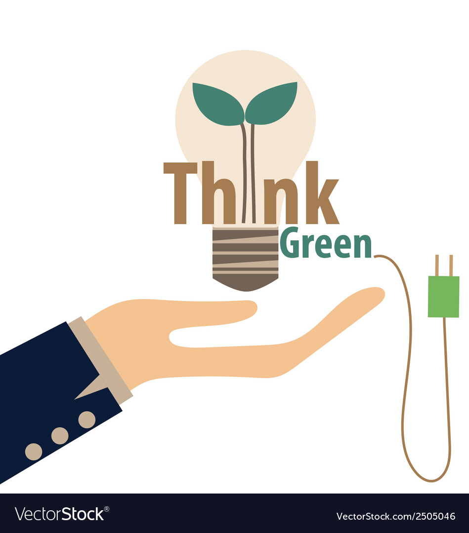 Think green eco concept light bulb with tree vector   Price: 1 Credit (USD $1)