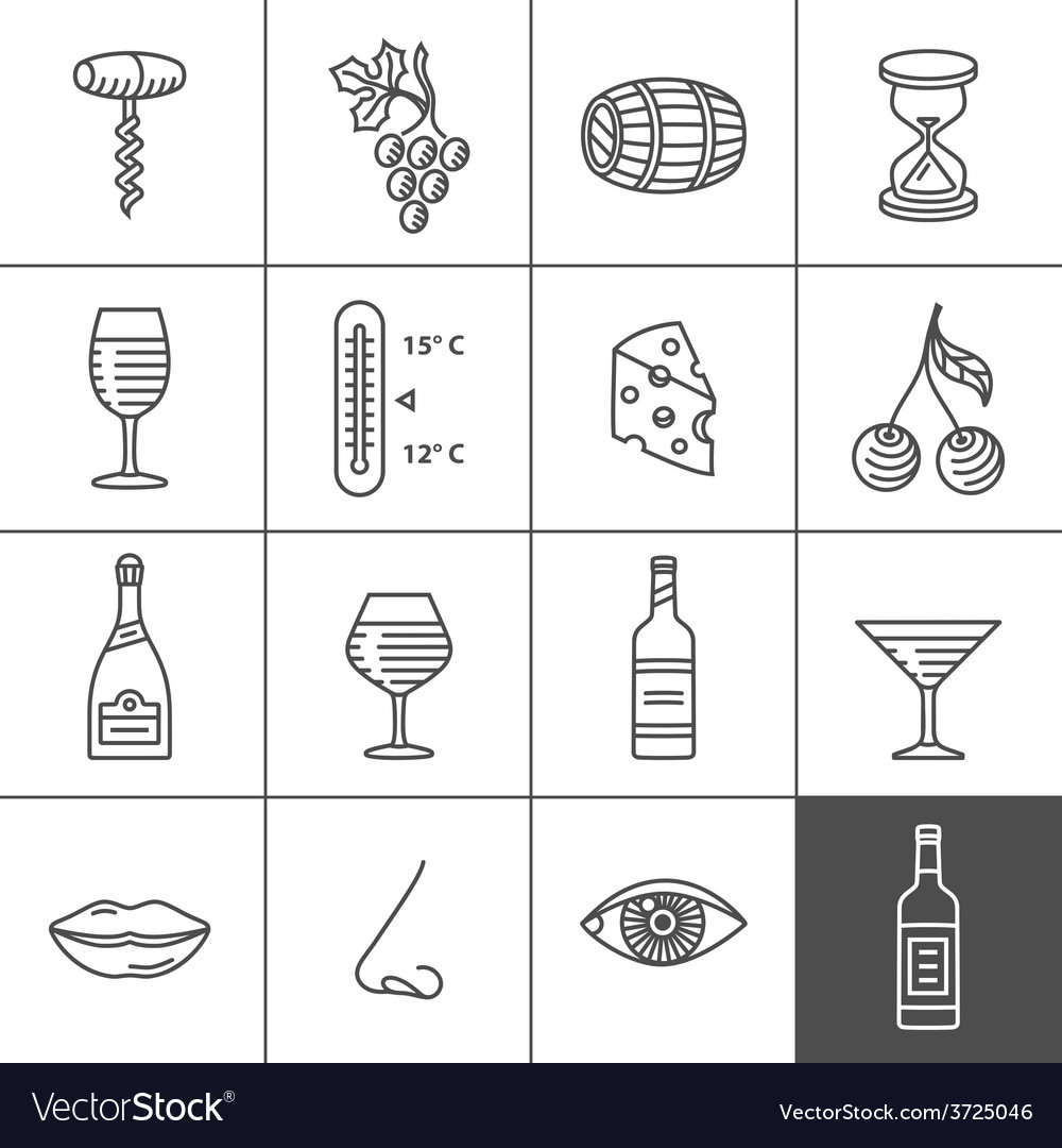 Wine icons set vector | Price: 1 Credit (USD $1)
