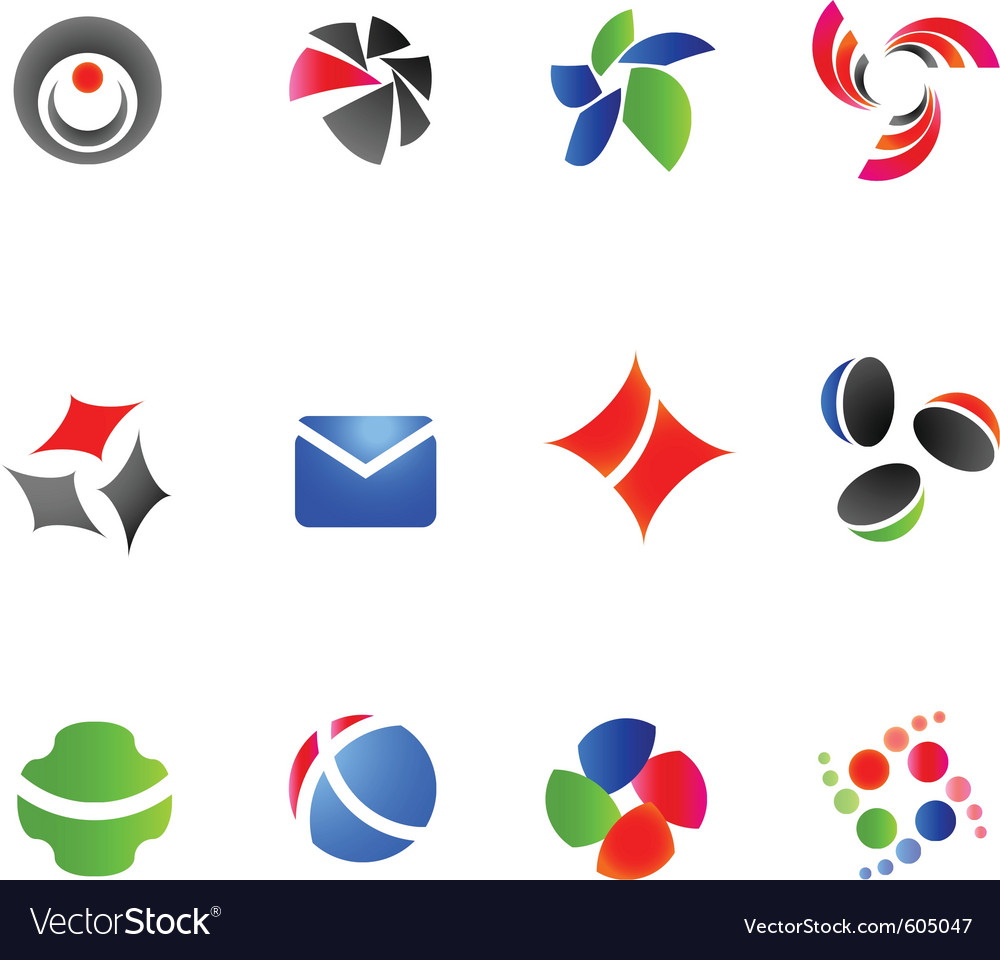 12 colorful symbols set 12 vector | Price: 1 Credit (USD $1)